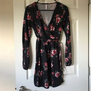 Black floral faux wrap long sleeve dress